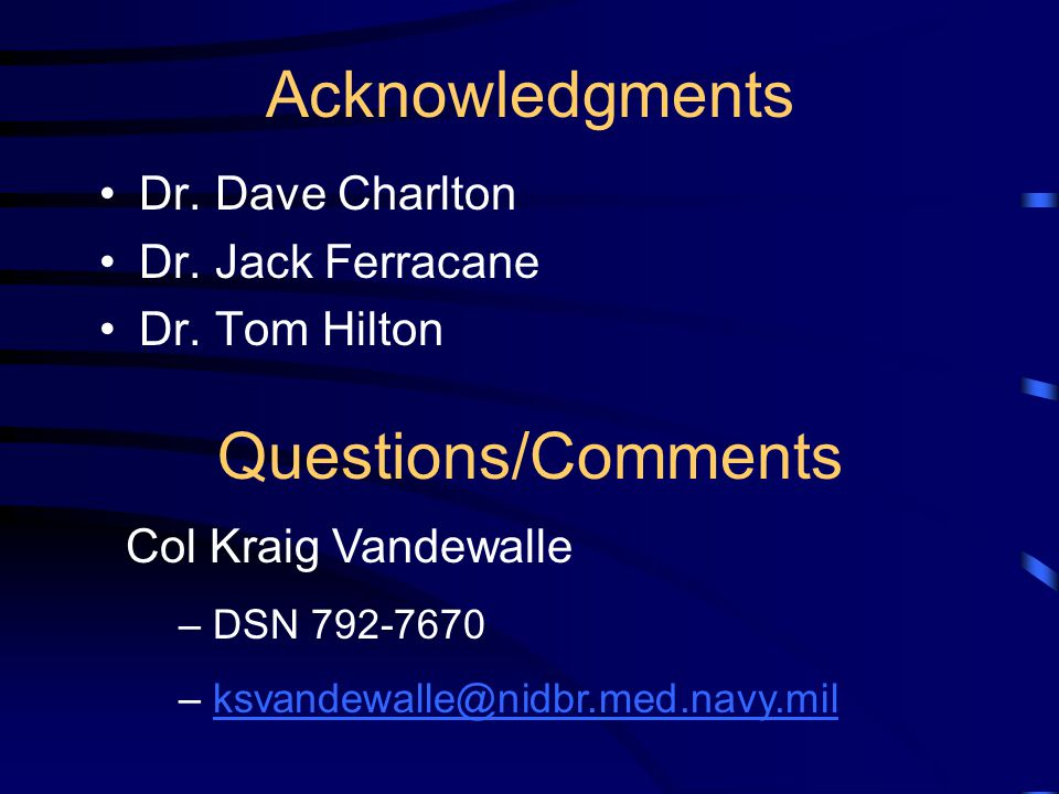 Acknowledgments Questions/Comments Dr. Dave Charlton