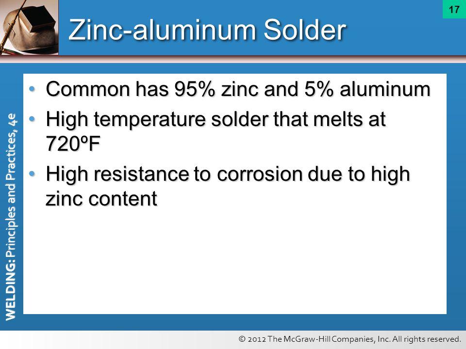 Zinc-aluminum Solder Common has 95% zinc and 5% aluminum