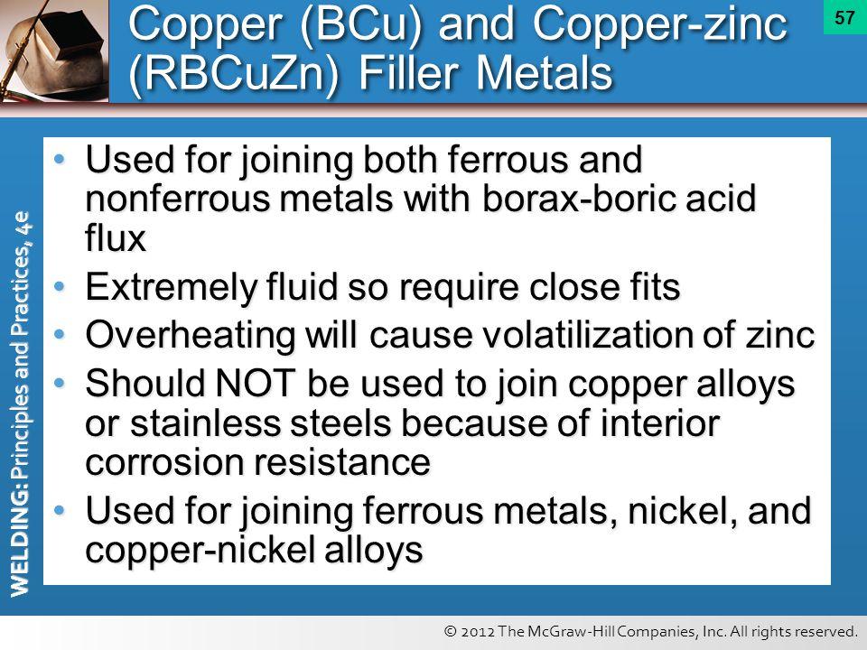 Copper (BCu) and Copper-zinc (RBCuZn) Filler Metals