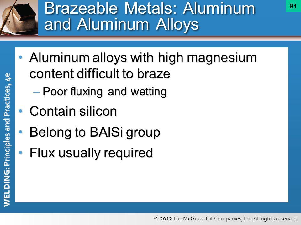 Brazeable Metals: Aluminum and Aluminum Alloys