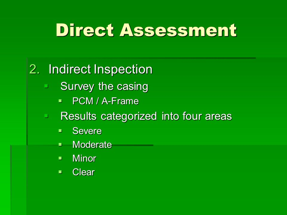 Direct Assessment Indirect Inspection Survey the casing