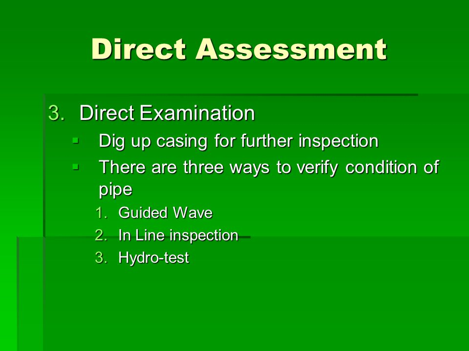 Direct Assessment Direct Examination