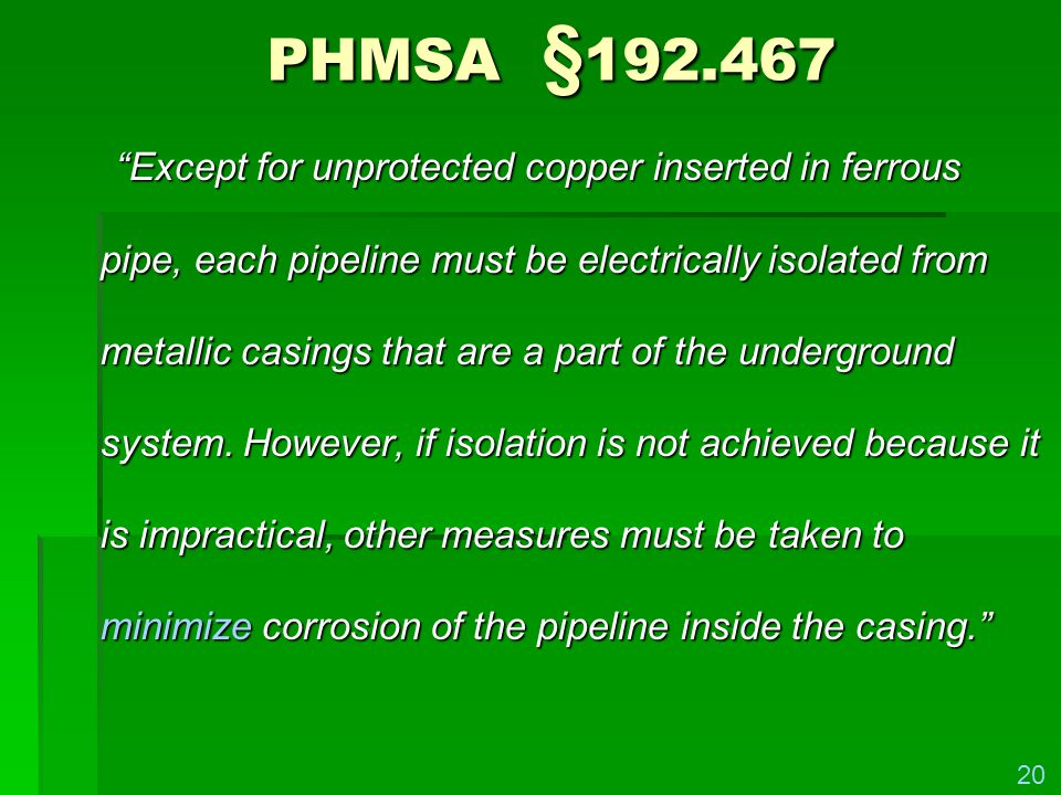 PHMSA §192.467