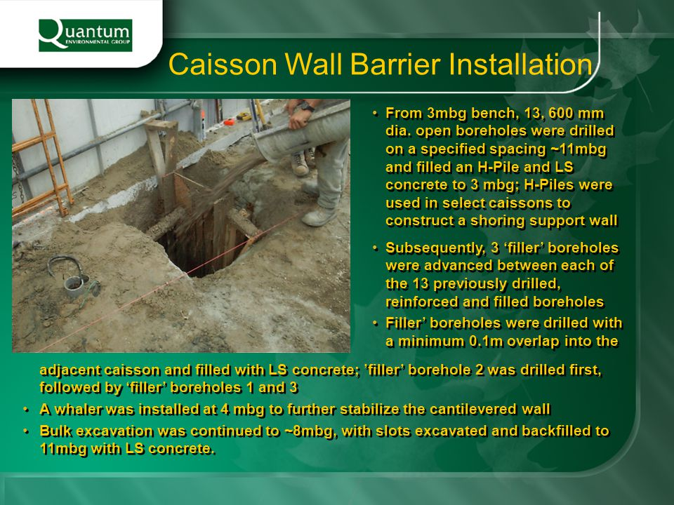 Caisson Wall Barrier Installation