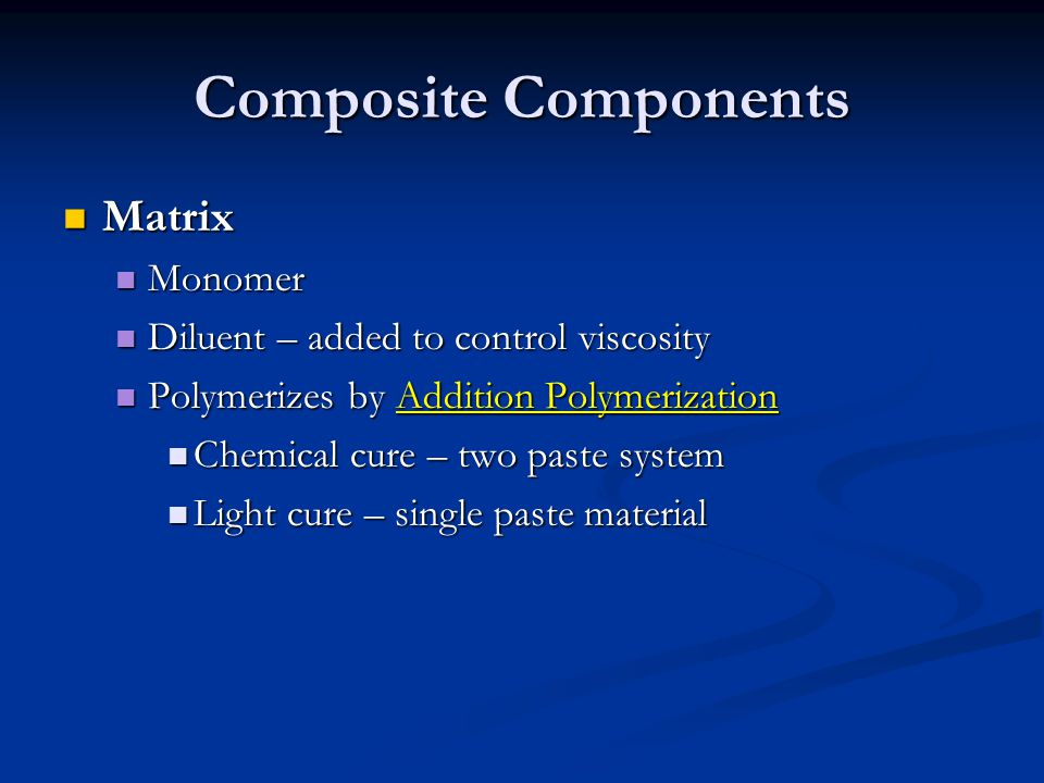 Composite Components Matrix Monomer