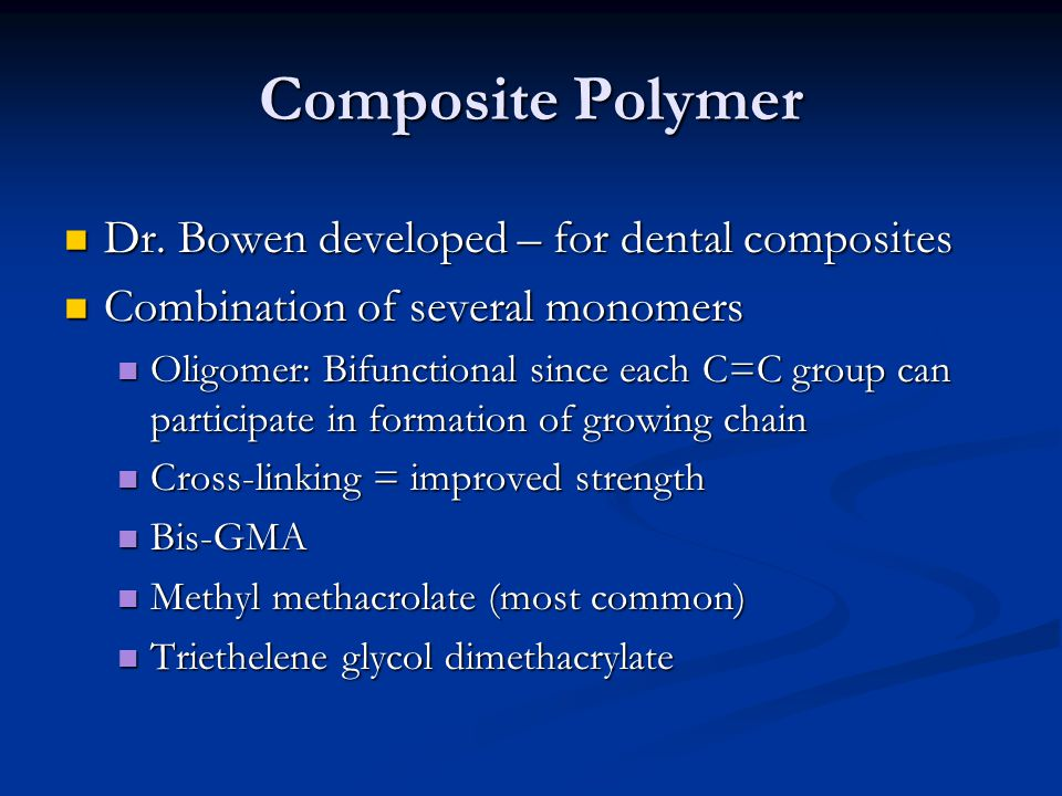 Composite Polymer Dr. Bowen developed – for dental composites
