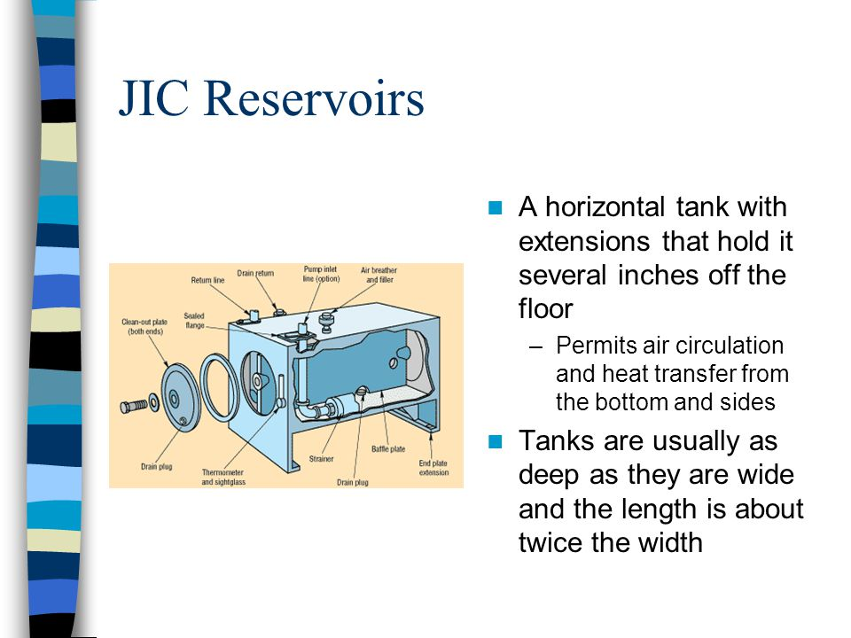 JIC Reservoirs A horizontal tank with extensions that hold it several inches off the floor.
