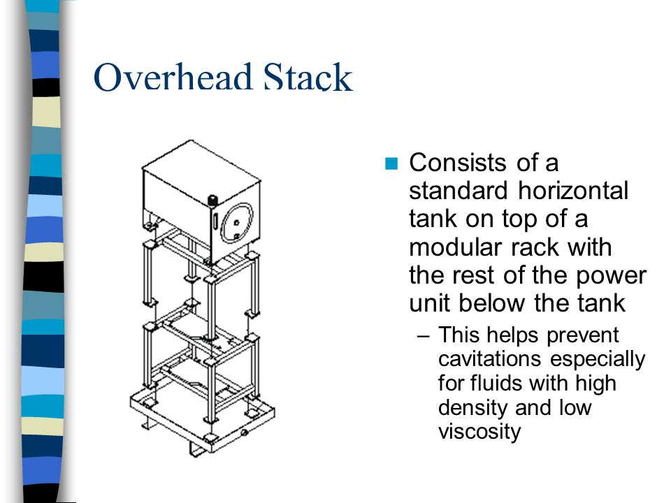 Overhead Stack Consists of a standard horizontal tank on top of a modular rack with the rest of the power unit below the tank.