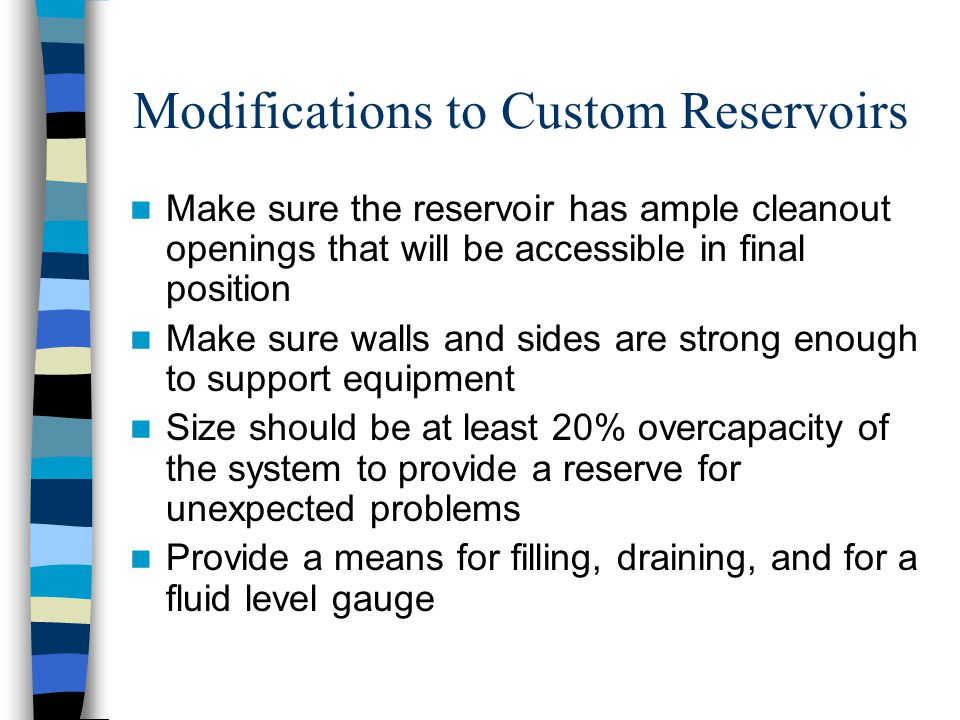 Modifications to Custom Reservoirs