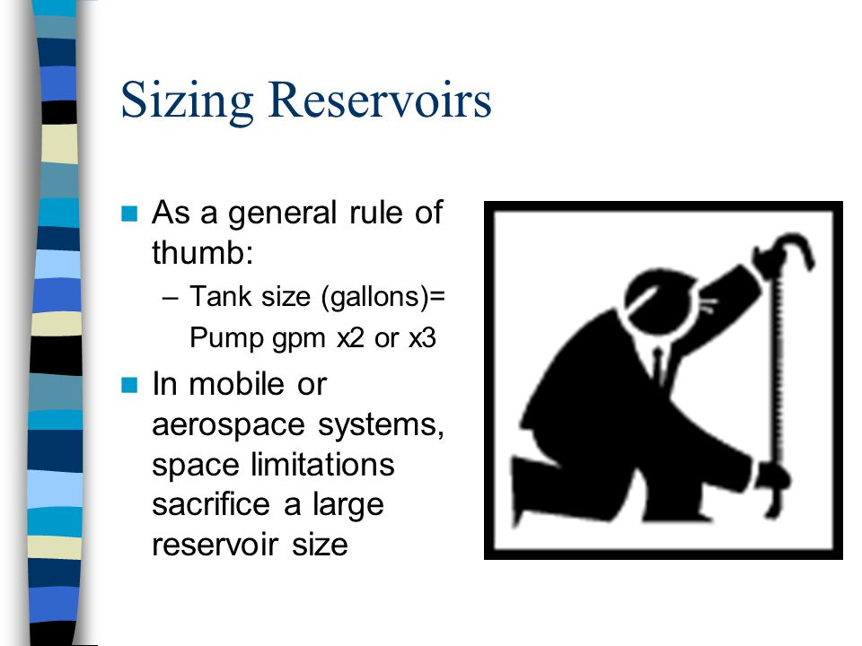 Sizing Reservoirs As a general rule of thumb: