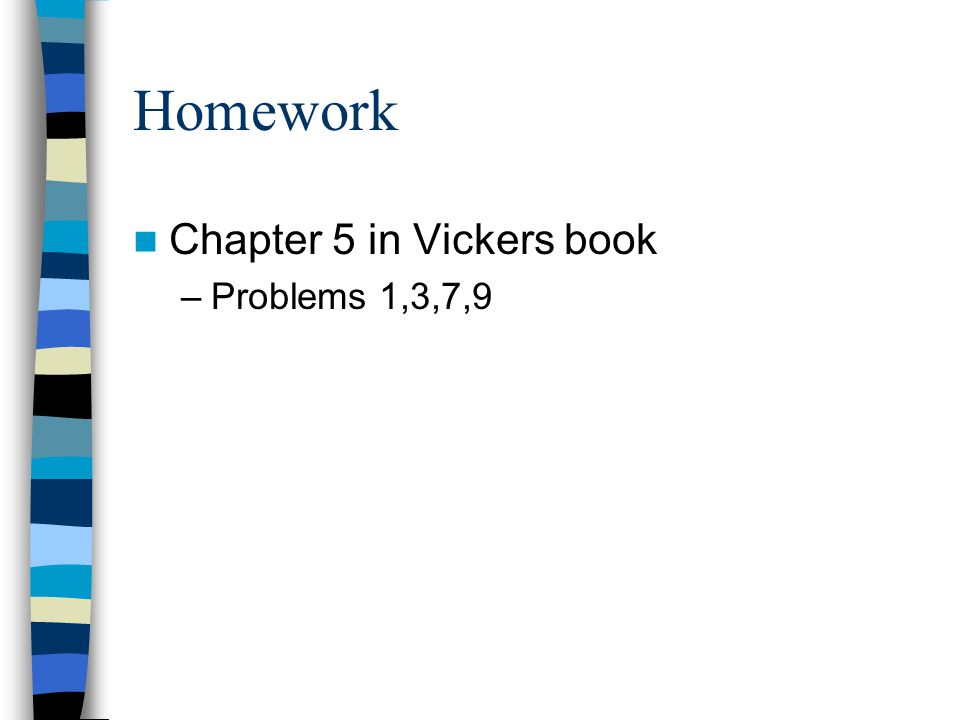 Homework Chapter 5 in Vickers book Problems 1,3,7,9