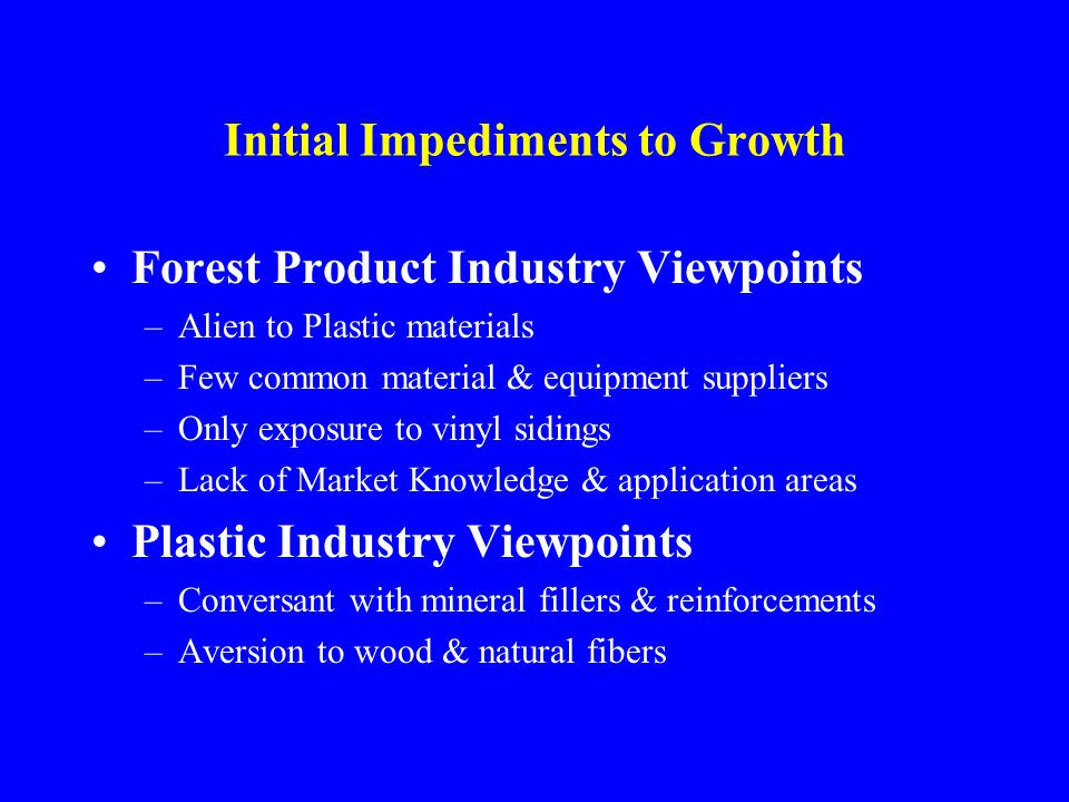 Initial Impediments to Growth