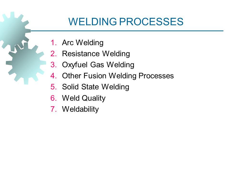 WELDING PROCESSES Arc Welding Resistance Welding Oxyfuel Gas Welding