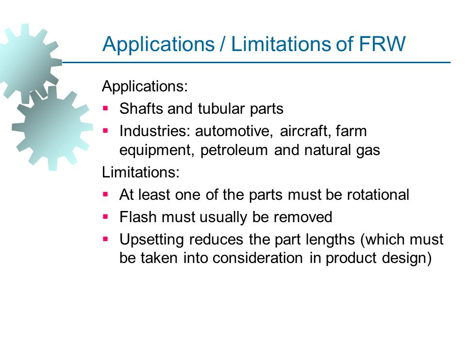 Applications / Limitations of FRW