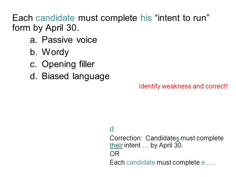 Each candidate must complete his intent to run form by April 30.