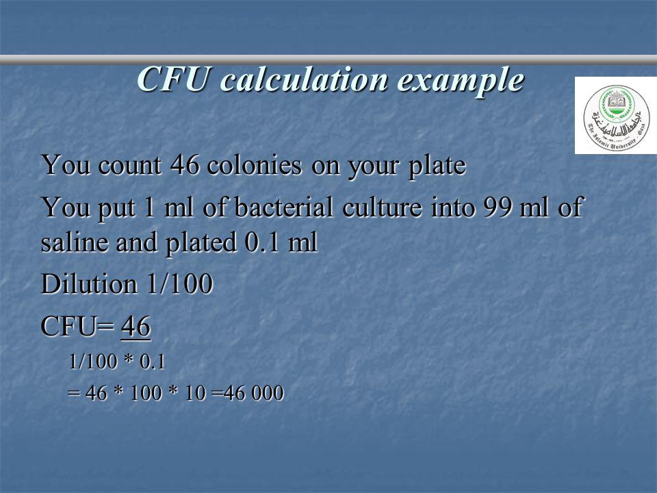 CFU calculation example
