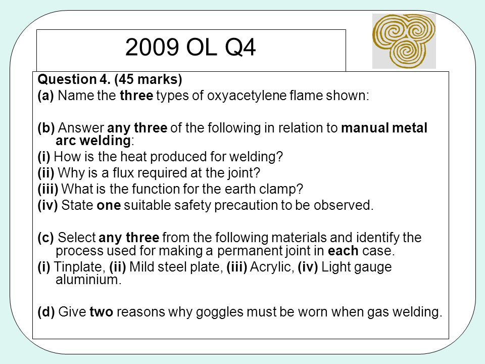 2009 OL Q4 Question 4. (45 marks) (a) Name the three types of oxyacetylene flame shown: