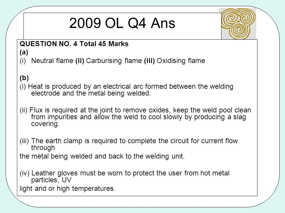 2009 OL Q4 Ans QUESTION NO. 4 Total 45 Marks (a)