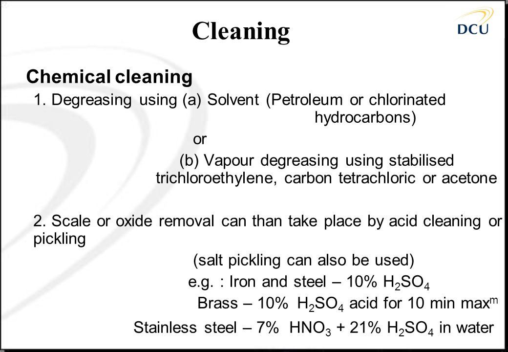Cleaning Chemical cleaning