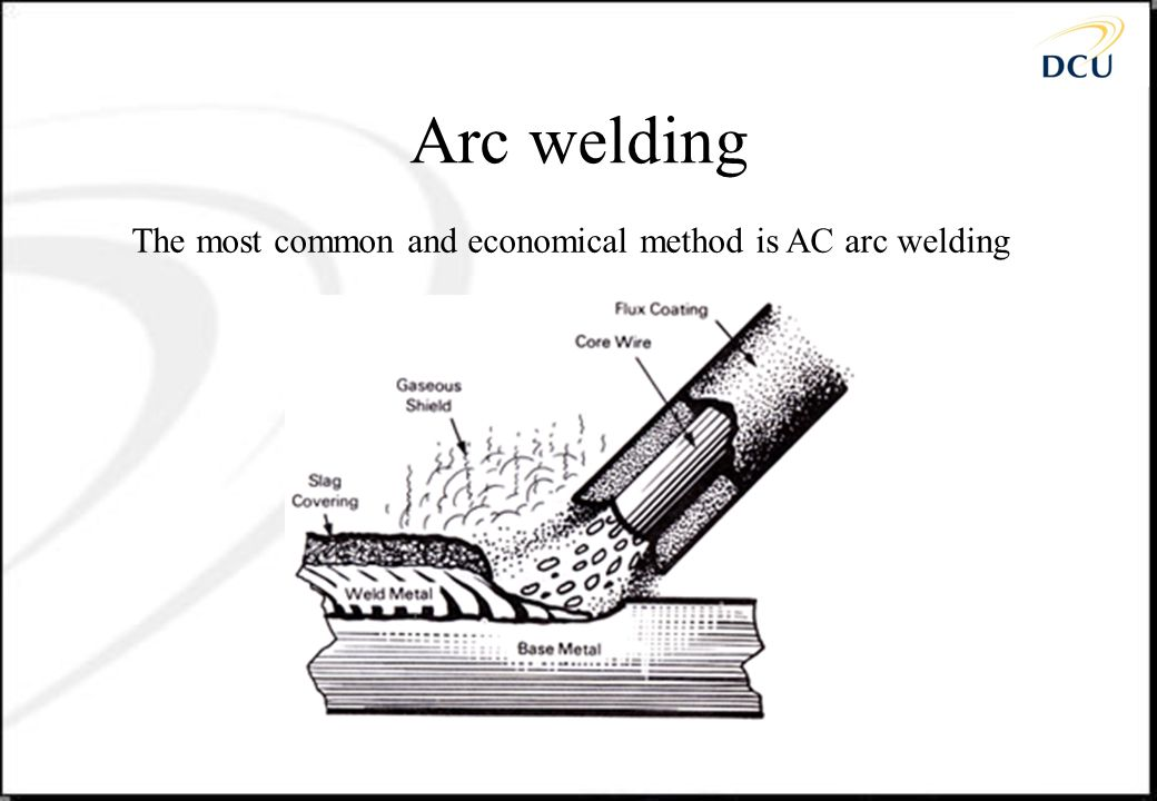 Arc welding The most common and economical method is AC arc welding