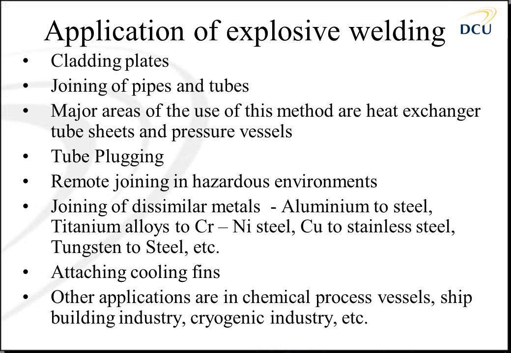 Application of explosive welding
