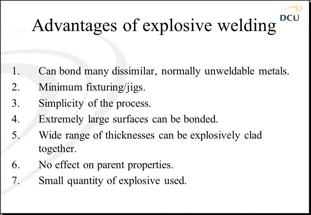 Advantages of explosive welding