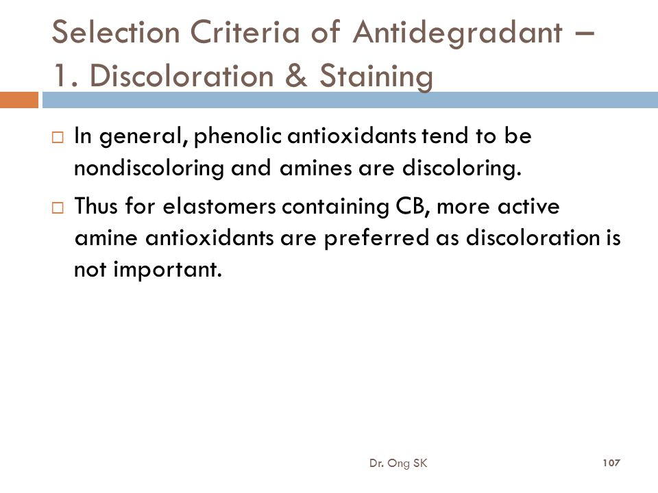 Selection Criteria of Antidegradant – 1. Discoloration & Staining