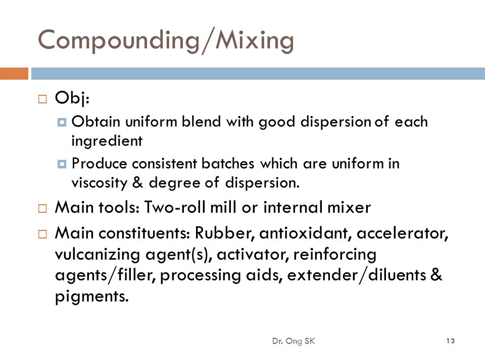 Compounding/Mixing Obj: Main tools: Two-roll mill or internal mixer