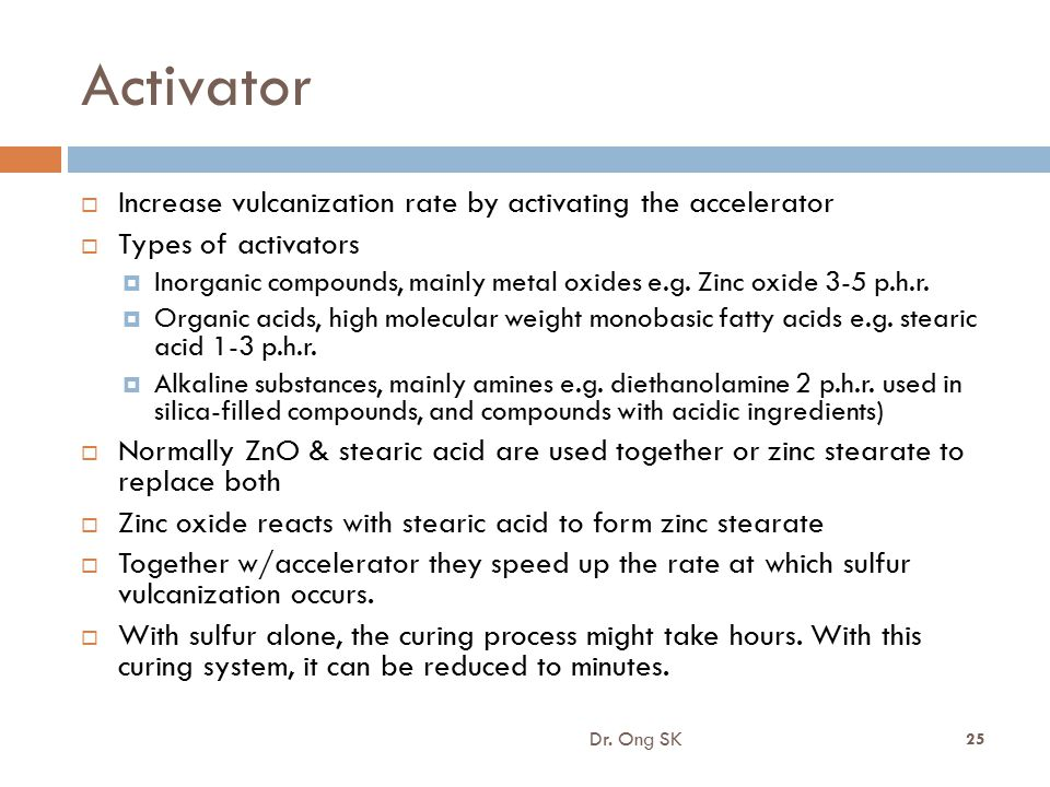 Activator Increase vulcanization rate by activating the accelerator