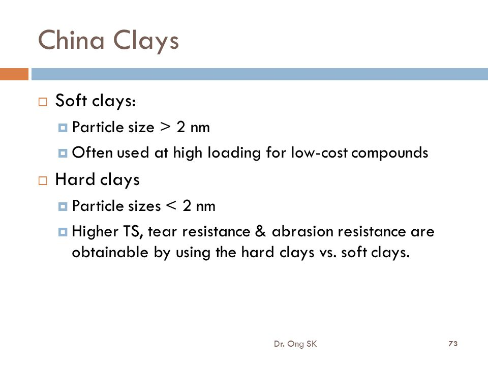 China Clays Soft clays: Hard clays Particle size > 2 nm