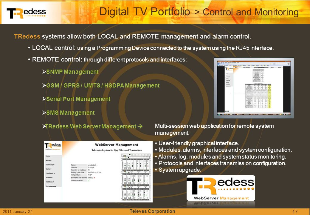 Digital TV Portfolio > Control and Monitoring