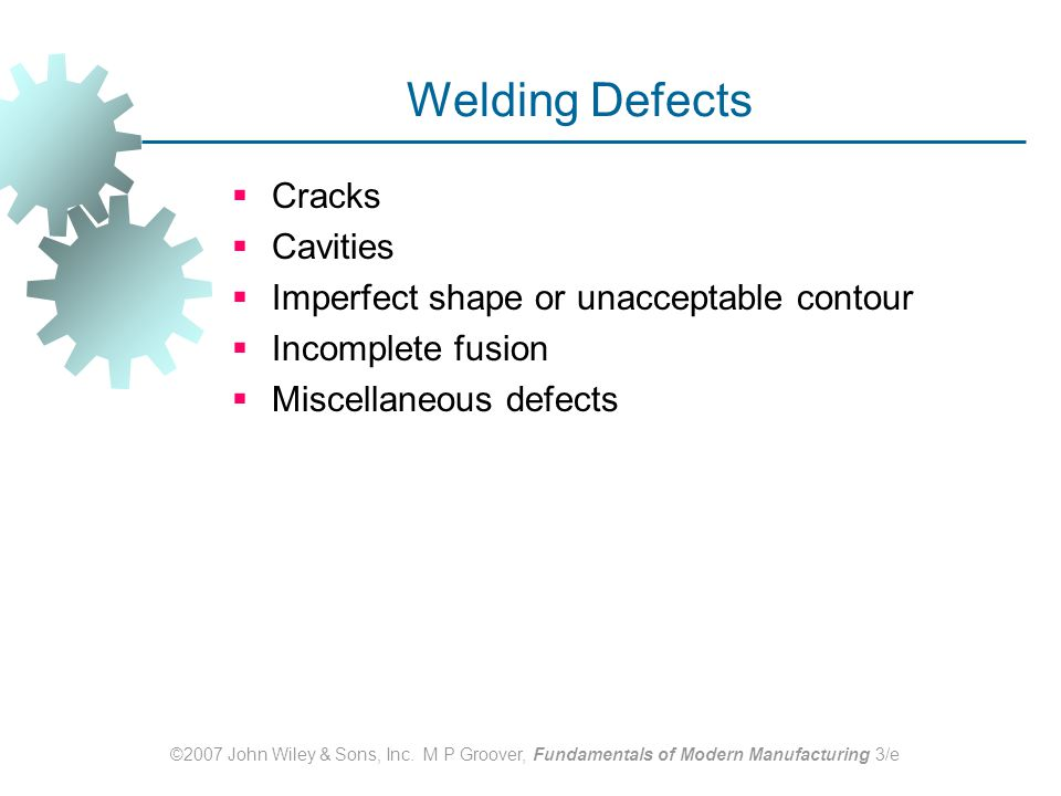 Welding Defects Cracks Cavities