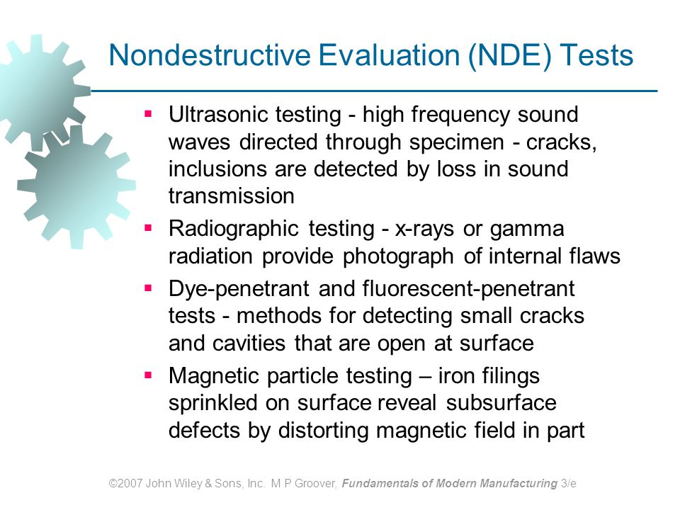 Nondestructive Evaluation (NDE) Tests