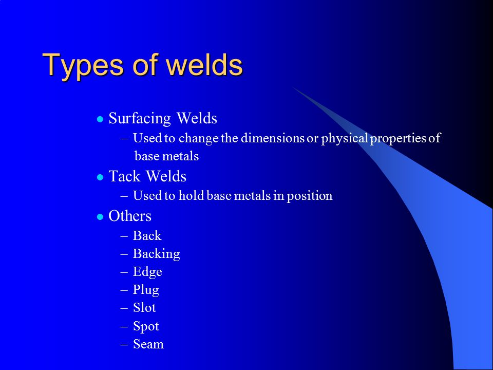 Types of welds Surfacing Welds Tack Welds Others