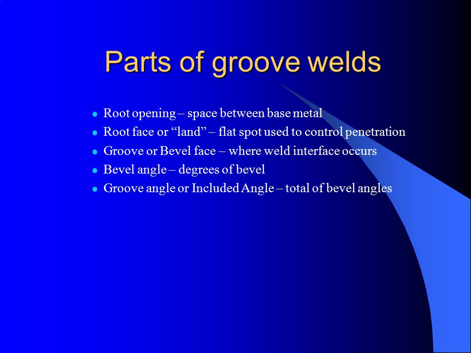 Parts of groove welds Root opening – space between base metal