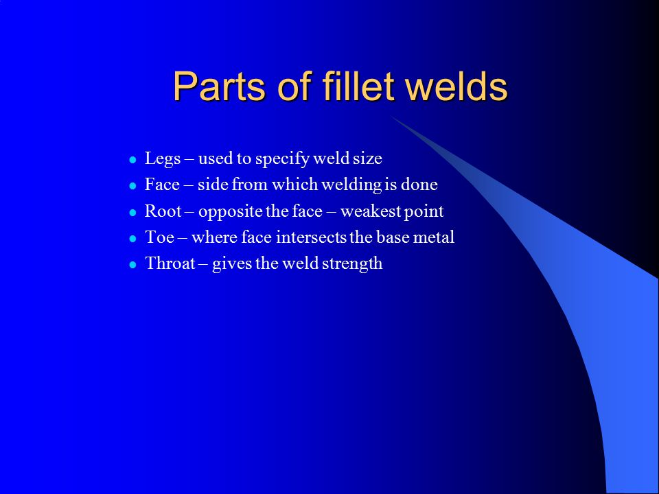 Parts of fillet welds Legs – used to specify weld size