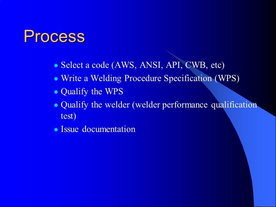 Process Select a code (AWS, ANSI, API, CWB, etc)