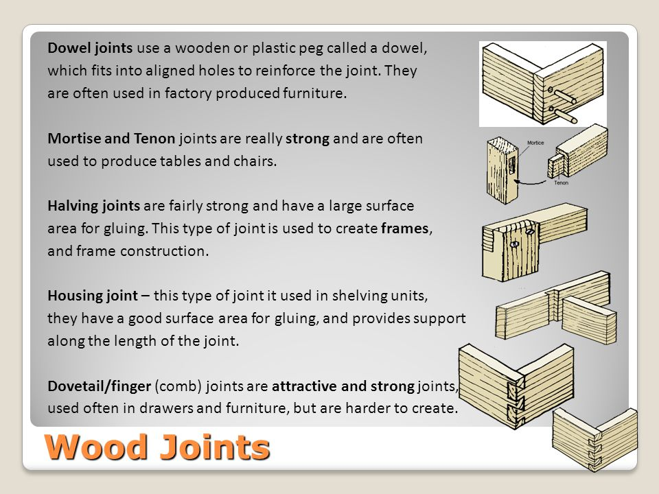 Wood Joints Dowel joints use a wooden or plastic peg called a dowel,