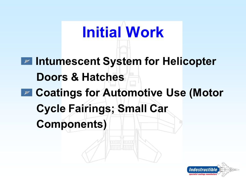 Initial Work Intumescent System for Helicopter Doors & Hatches