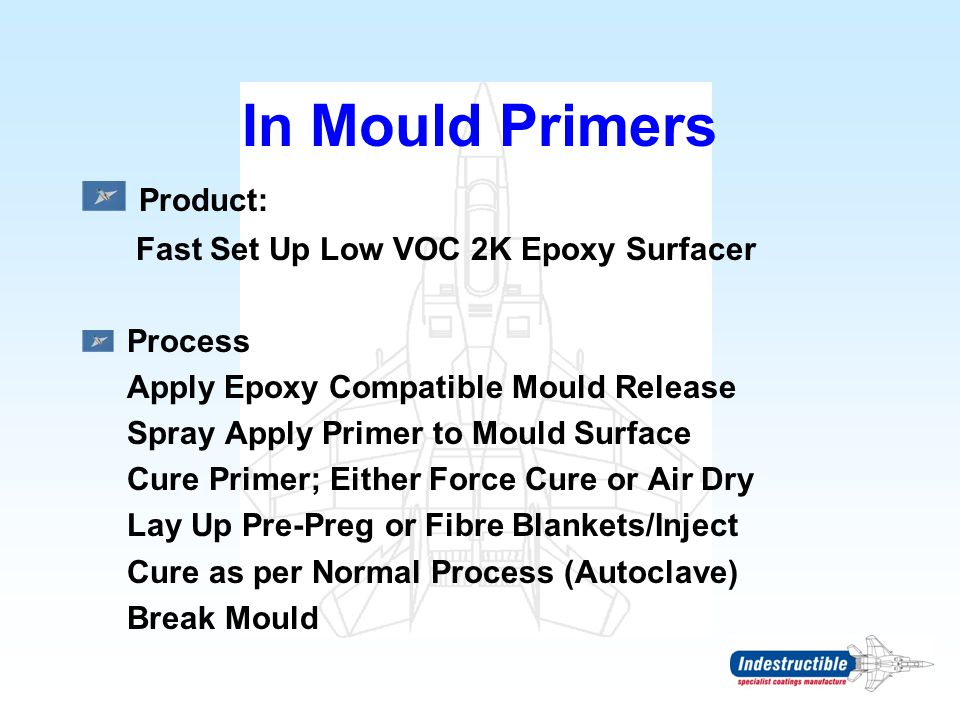 In Mould Primers Product: Fast Set Up Low VOC 2K Epoxy Surfacer