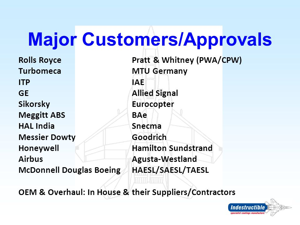 Major Customers/Approvals