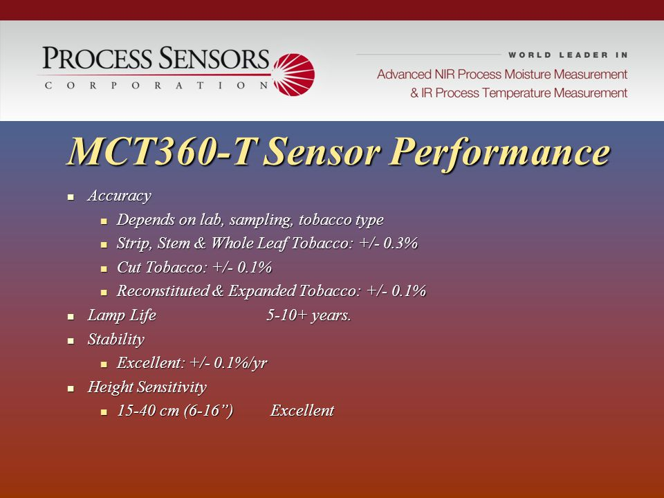 MCT360-T Sensor Performance