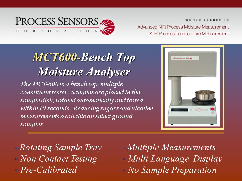 MCT600-Bench Top Moisture Analyser