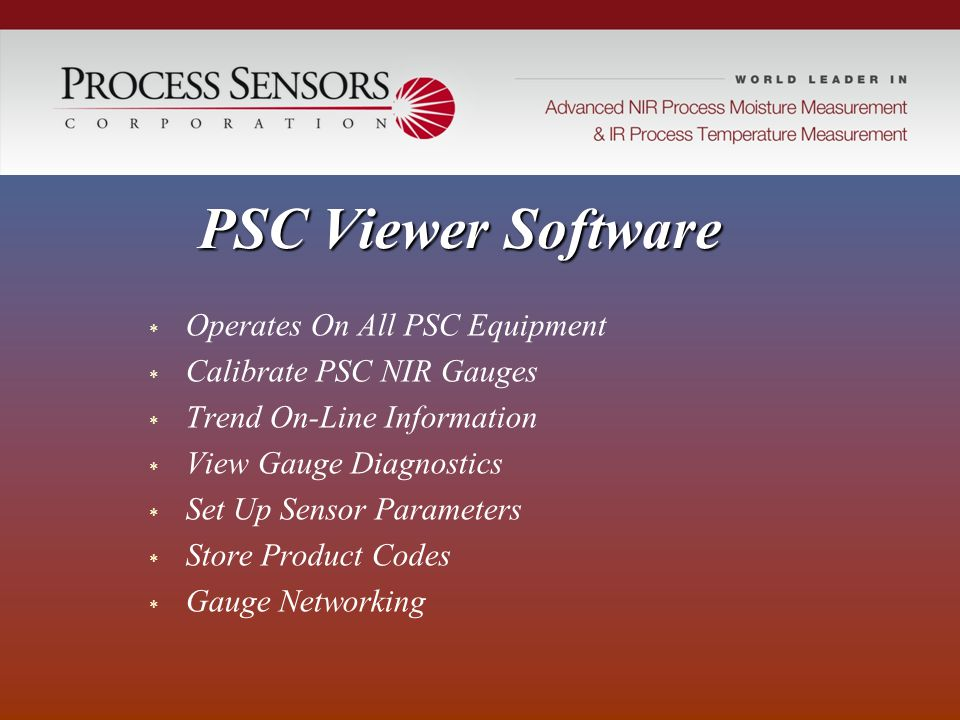 PSC Viewer Software Operates On All PSC Equipment