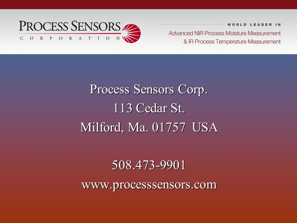 Process Sensors Corp. 113 Cedar St. Milford, Ma. 01757 USA 508