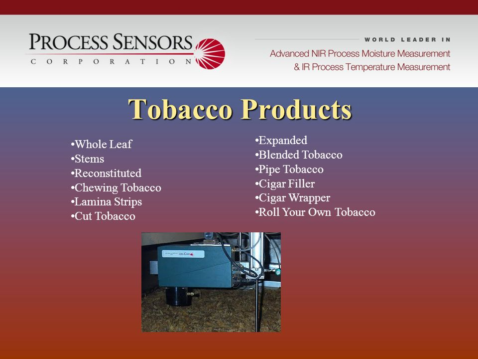 Tobacco Products Expanded Whole Leaf Blended Tobacco Stems