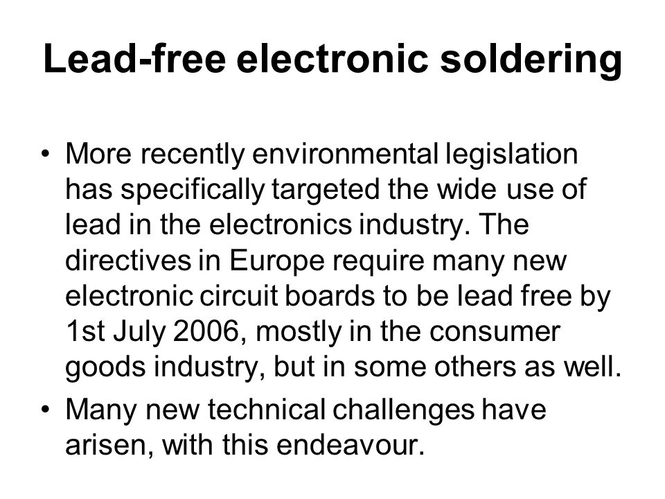 Lead-free electronic soldering