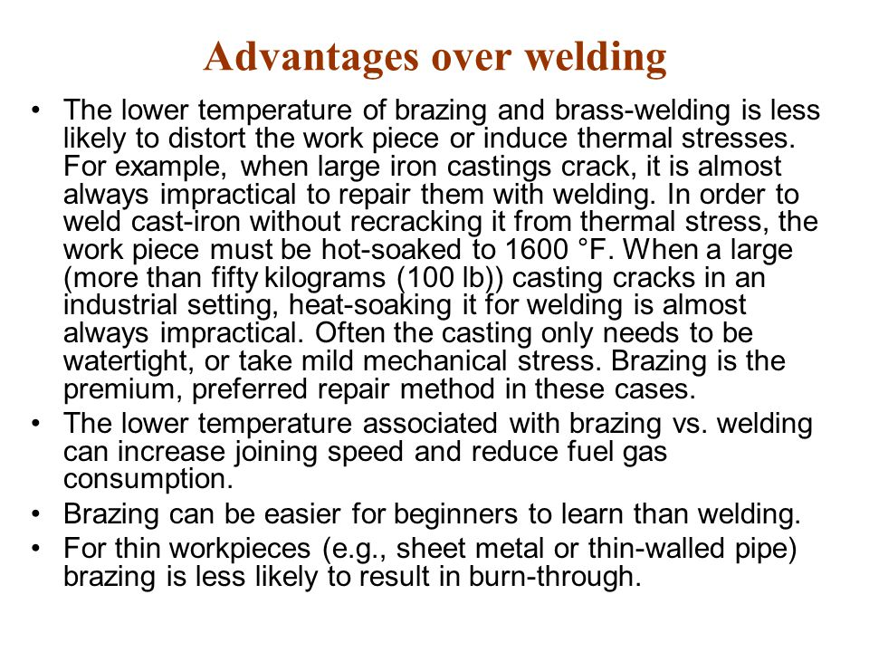 Advantages over welding