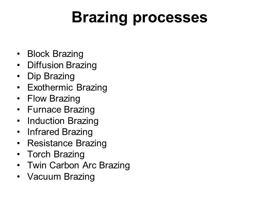 Brazing processes Block Brazing Diffusion Brazing Dip Brazing