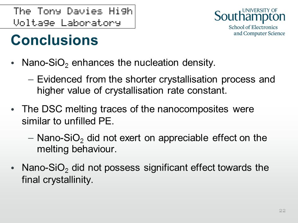 Conclusions Nano-SiO2 enhances the nucleation density.